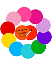 Cinvo 12 Pcs Dry Erase Stickers Colorful Dry Erase Dots Circles White Board Marker Removable Vinyl Dot 11 inch Wall Decals Spots Stickers for Table Groups Classroom Home Drawing Doodling Notes Use