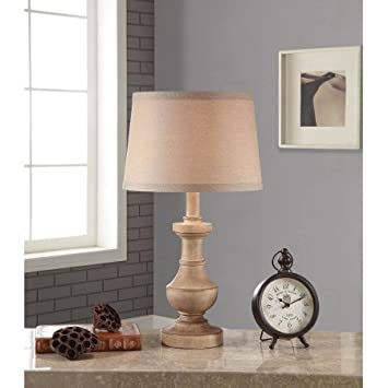 Better homes and gardens rustic table lamp white washed wood finish height