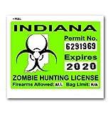 Indiana IN Zombie Hunting License Permit Green - Biohazard Response Team - Window Bumper Locker Sticker