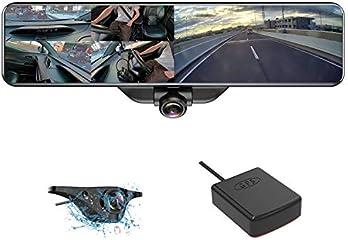 AKEEYO ミラー型ドライブレコーダー 360度 全方位同時録画 ドライブレコーダー 前後カメラ 11.88インチ インナーミラー型 ルームミラー 垂直220度 140度超広角 高画質 前1920P 後1080P IP67防水...