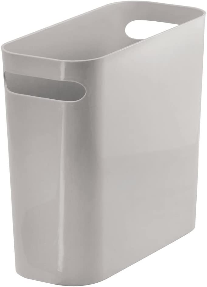 "mDesign Slim Plastic Rectangular Small Trash Can Wastebasket, Garbage Container Bin with Handles for Bathroom, Kitchen, Home Office, Dorm, Kids Room - 10"" High, Shatter-Resistant - Gray"