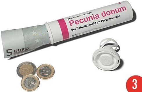 + I LOVE GIFTS + /& Geschenkr/öhrchen im Medikamenten-Stil PECUNIA DONUM 3er-Pack LUSTIG von modern times + Geld