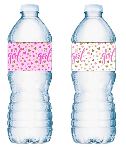 20 Its a Girl Water Bottle Labels Pink and White Baby Shower Party ; Waterproof Water Bottle Wrappers; Its a Girl Water Bottle Stickers Labels (10 Pink and 10 White)