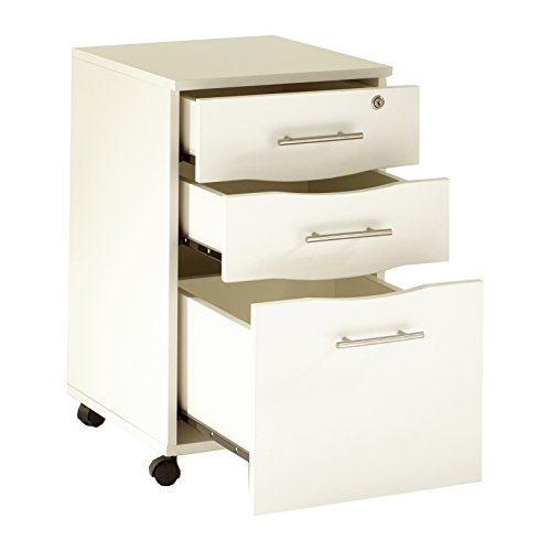 Underdesk Mobile Pedestal File - MMT Mobile Filing Cabinet Lockable 3 Storage Drawer Unit White Under Desk Pedestal Unit 15.7