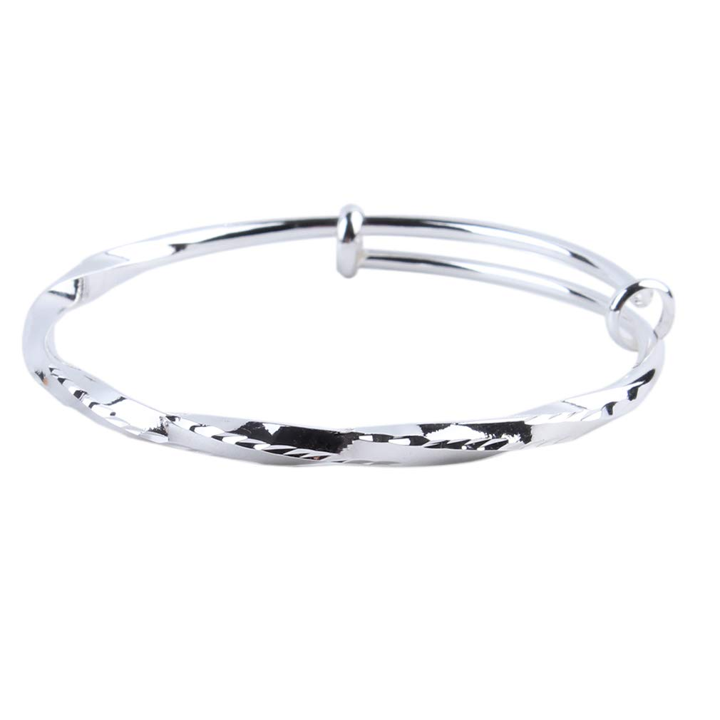 EH-LIFE Women Exquisite Jewelry 925 Sterling Silver Adjustable Cuff Bracelet Bangle Girlfriend Gift Silver Belt Car Pattern