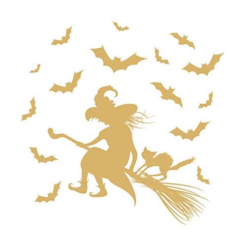 lepni.me 1334_G Wall stiker Riding hag,Halloween Decoration (Gold) -