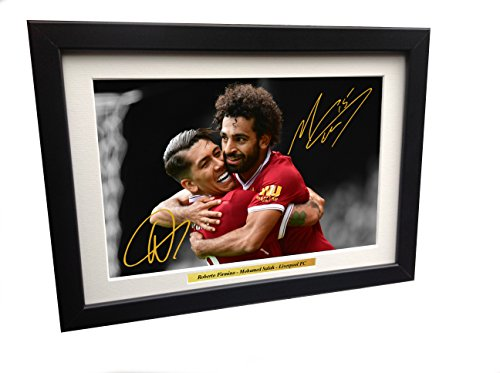 Roberto Firmino - Mohamed Mo Salah 12x8 A4 Signed Liverpool FC - Autographed Photo Photograph Picture Frame Gift Soccer by kicks