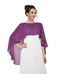 Sunnygirls Women's Bridal Soft Chiffon Shawl Long Evening Wraps For Special Occasion (Plum)