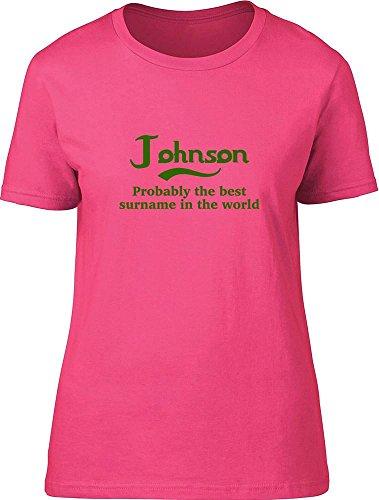 Johnson probablemente la mejor apellido en el mundo Ladies T Shirt Rosa