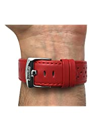 22mm Red Vented Racer Leather Watch Strap Band, Black, White, Brown, Yellow, Orange, Blue and Red