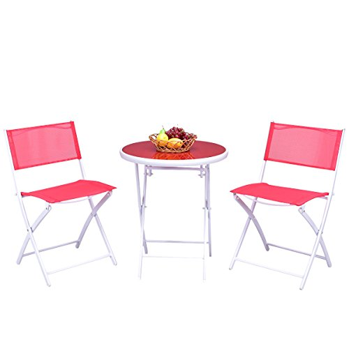 GHP 3-Pcs Red and White Sturdy Durable Steel Folding Round Table and Chairs Set by Globe House Products