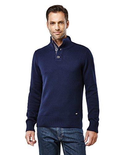 Vincenzo Boretti Men's Sweater - troyer, chunky knit, with ribbed ,darkblue,Large