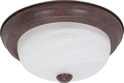 Nuvo 60/206 13-Inch Old Bronze Flush Dome with Alabaster Glass -