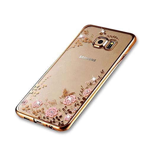 Galaxy S6 edge Plus Case S6 edge + Case Luxury Stylish Design Electroplated Slim Fit Lightweight Ultra Thin Metallic luster TPU Case Cover for Samsung Galaxy S6 edge Plus - Flower Gold