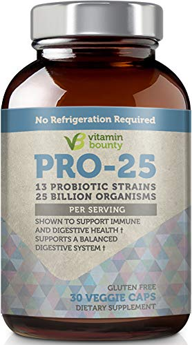 (Vitamin Bounty Pro 25 Probiotic with Prebiotics - 13 Strains, 25 Billion CFU, for Gut and Digestive Health with Delayed Release EmbocapsTM & Fermented Greens)
