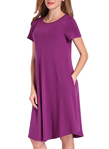 HUSKARY Women's Plain Casual Tunic Swing Loose T-shirt Dress With Pockets(Asia L / US 10,Purple)
