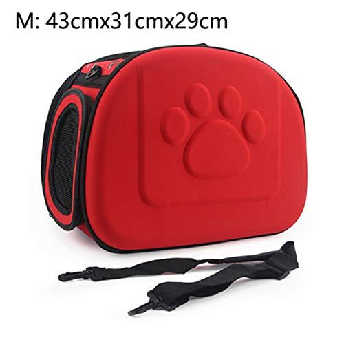 Dog Carrier Bag Portable Cats Handbag Foldable Travel Bag Puppy Carrying Mesh Shoulder Pet Bags S/M/L,Red 43X31X29Cm M