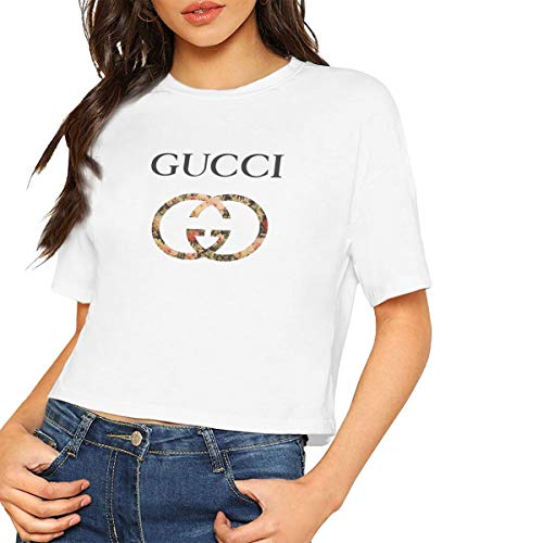 b20830f8 Kespeare Woman's Casual Classic-Gucci -Logo Crew Crop Top Tees White