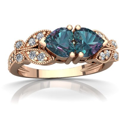 14K Rose Gold Lab Alexandrite and Diamond Heart Butterflies Ring - Size 7