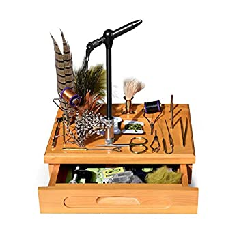 Image of Creative Angler Wooden Fly Tying Station with Tools and Materials