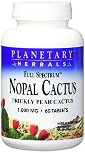 Planetary Herbals FS Nopal Cactus Tablets, 1000 mg, 60 Count