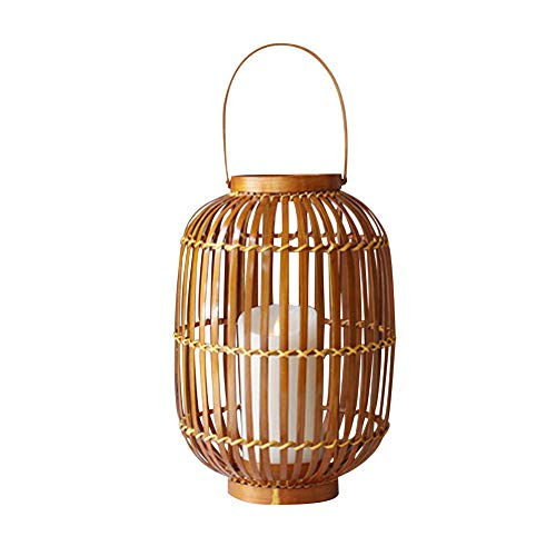 Yegam Rattan Candle Warmer Indoor Outdoor LED Flameless Candle Lantern 13 Inch High Ideal Gift for Weddings Festivities Parties Outdoor Activities Aromatherapy Spa Settings