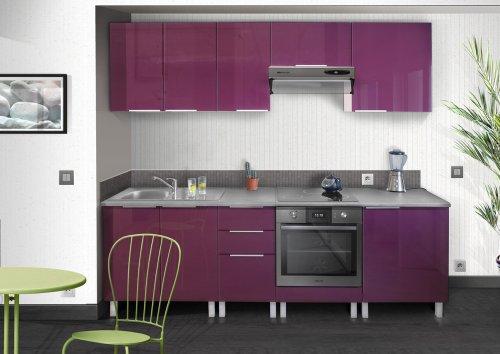 berlenus ce8ba meuble bas de cuisine sous evier aubergine haute ... - Meuble Cuisine Violet