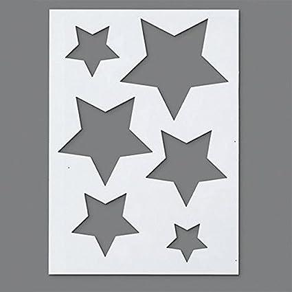 Plantillas Estrellas Para Decorar.Efco Plantilla De Plastico Con 6 Disenos De Estrellas Transparente Tamano A5