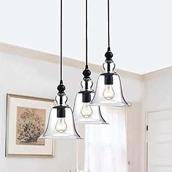 yamila bell shaped glass antique black 3 light pendant. Black Bedroom Furniture Sets. Home Design Ideas