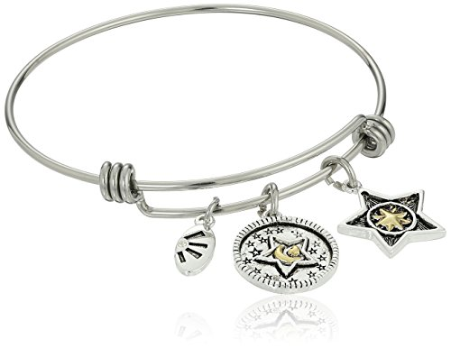 Two-Tone Silver Plated Love You More Than All the Stars in the Sky, Wish Upon A Star Adjustable Bangle Bracelet