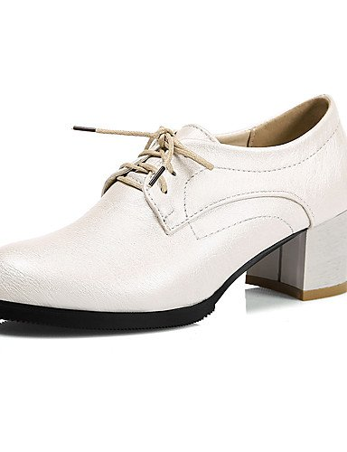 ZQ hug Zapatos de mujer-Tacón Robusto-Punta Redonda-Oxfords-Exterior / Oficina y Trabajo / Casual / Fiesta y Noche / Vestido-Semicuero-Negro / , white-us8 / eu39 / uk6 / cn39 , white-us8 / eu39 / uk6 black-us8 / eu39 / uk6 / cn39