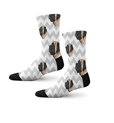 English Mastiff Dog Gray Zigzag Novelty Cuff Crew Men Women Socks Large