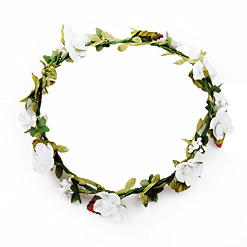 DreamLily Women's Flower Festival Wedding Hair Wreath Boho Floral Headband BC09(White)]()