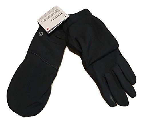 水星恒久的割合Lululemon Run Fast Glovesブラックwith Snaps撥水加工防水Tech friendly- run-サイズXS / S