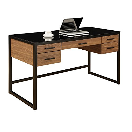 MyEasyShopping Desk with Wood Grain and Glass Top with Pull Out Flip Down Keyboard Tray Desk Chair Storage Disney Mouse Delta -