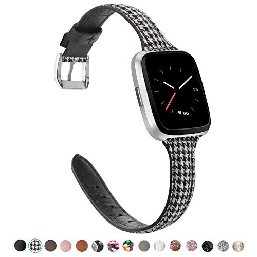 - TOYOUTHS Leather Strap Compatible with Fitbit Versa Bands, Slim Genuine Leather Wristbands Replacement for Versa Lite Special Edition SE Classy Accessories with Quick Release Pins Black White Grid