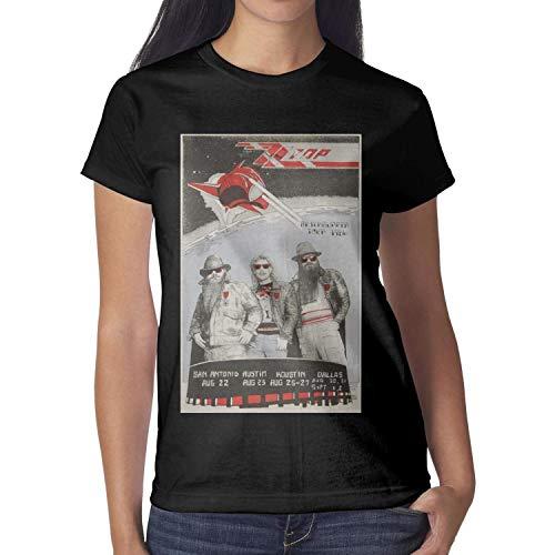 (J.SKEY Women Lot-Detail-1986-Afterburner-Tour-ZZ-Top-Concert-Poster- Black Short Sleeved Cotton Tee Shirt)