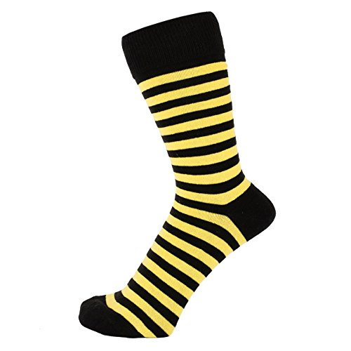 ZAKIRA Finest Combed Cotton Striped Dress Socks for Men, Women (Yellow/Black, US -
