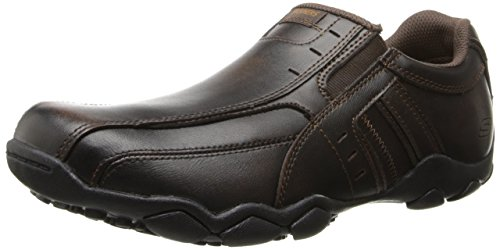 Skechers USA Men's Diameter-Nerves Slip-On Loafer,Brown Leather,10.5 M - Usa Brown