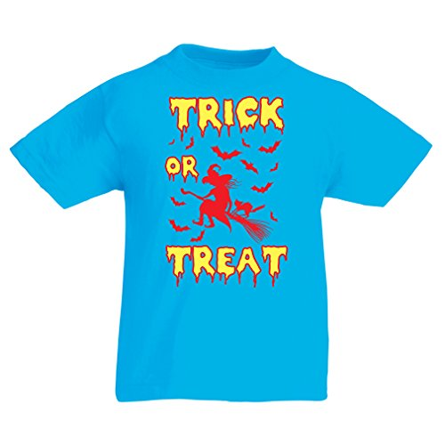 lepni.me T Shirts for Kids Trick or Treat - Halloween Witch - Party outfites - Scary Costume (12-13 Years Light Blue Multi Color)