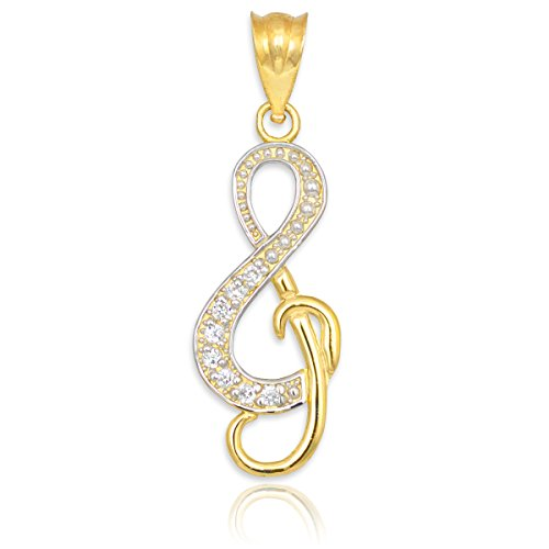 14k Gold Diamond Studded Treble Clef Charm Music Note Pendant (Yellow-gold)