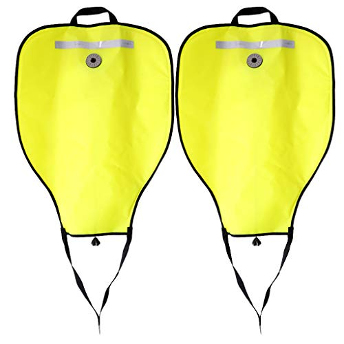 (Baosity 2Pcs High Visibility & Reflective Safety Tech Scuba Diving 50lbs Lift Bag & Over Pressure Valve Dive Diver Snorkeling Underwater Work - Yellow)