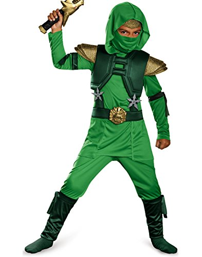 The Green Ninja (Shadow Ninja Green Master Ninja Deluxe Boys Costume, One Color, 4-6)
