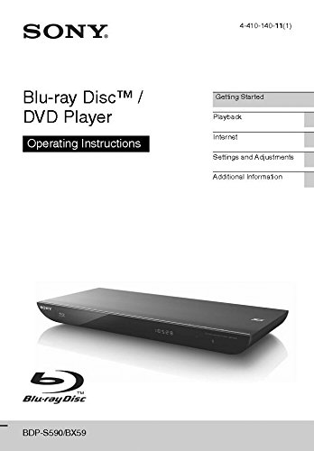Sony BDP-S590 Blu-ray Player Owners Manual (Sony Blu Ray Player S590)