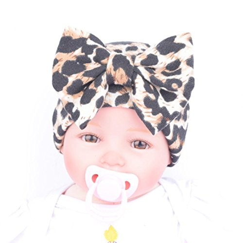 Amiley Newborn Baby Infant Hospital Hat Beanie With Leopard Flower Bow Hat (Yellow)