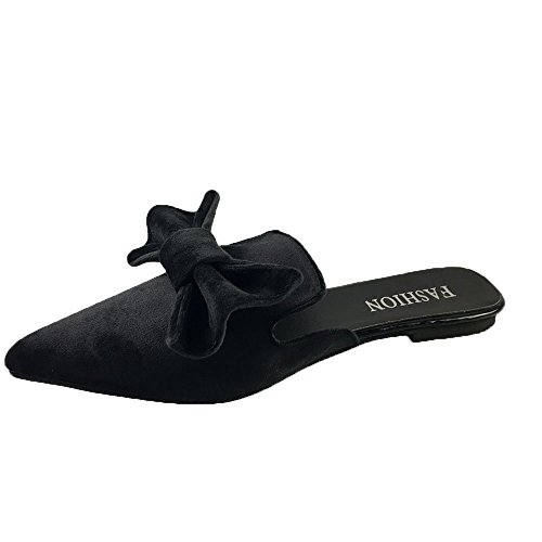Mtzyoa Women Flat Bow Mules Pointed Toe Slip On Loafer Suede Slide Sandals Black by Mtzyoa