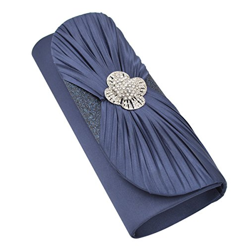 Elegant Cross Pleated Satin Flap Crystal Clutch Evening Bag, Navy