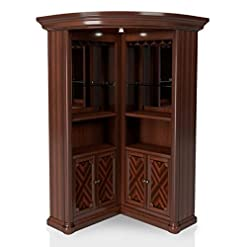 Home Bar Cabinetry Furniture of America Myron Traditional Wood Corner Home Bar in Dark Cherry home bar cabinetry