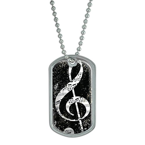 Graphics and More Vintage Treble Clef Music Black - Military Dog Tag Luggage Keychain