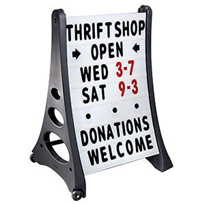 Quick-Load Curb Sign, A Frame Sidewalk Swinger Sign with White Changeable Message Board